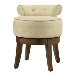 Coaster - Accent Chair, Chrysanthemum Pattern - The perfect addition for your bedroom, this vanity stool has a swivel feature, two decorative buttons, plush seating and flared wood legs.