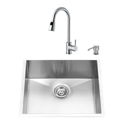 "VIGO Industries - VIGO All in One 23-inch Undermount Stainless Steel Kitchen Sink & Chrome Faucet - Give your kitchen a complete makeover with a VIGO All in One Kitchen Set featuring a 23"" Undermount kitchen sink, Chrome faucet, soap dispenser, matching bottom grid, and sink strainer."