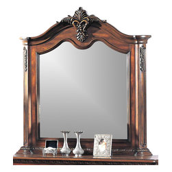 Yuan Tai - Tipton Beveled Mirror in Dark Cherry Finish - Intricate resin carvings. 4 in. frame thickness. Distressed finish. Warranty: Six months limited. Made from solid hardwoods and wood veneers. 53 in. W x 49 in. H (61.6 lbs.)