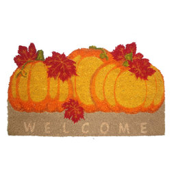 Style Selections Orange/Peach/Apricot Rectangular Door Mat - From the time guests step up to your house, they'll feel the spirit of Halloween with this doormat.