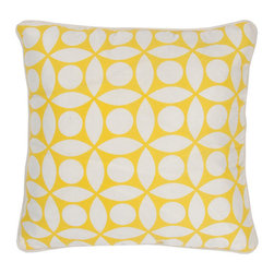 Rizzy Rugs - Rizzy Home Yellow 18 Inch x 18 Inch Pillow Cover with Hidden Zipper - - Pillow Cover with Hidden Zipper  - Poly Slub Fabric  - Printed Pattern  - Primary Color - Yellow  - Secondary Color - White  -  Machine Wash on Gentle Cycle with Mild Detergent.  Lay Flat to Dry. Rizzy Rugs - T03599