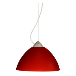 Besa Lighting - Besa Lighting 1KX-420131 Tessa 1 Light Cable-Hung Pendant - Tessa has a classical bell shape that complements aesthetic, while also built for optimal illumination. Our Red Matte glass is a vibrant primary red pressed glass, with a white inner layer. This decor can add an edgy, classic, or contemporary feel to any room. When lit this gives off a light that is functional and energetic. The smooth satin finish on the clear outer layer is a result of an extensive etching process. This handcrafted glass uses a process where every glass is consistently produced using a press mold, keeping variations to a minimum. The cable pendant fixture is equipped with a 10' silver aircraft cable and AWM cordset, and a dome monopoint canopy.Features: