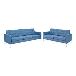 """LexMod - Florence Style Loft Loveseat and Sofa Set of 2 in Blue Tweed - Loft Loveseat and Sofa Set of 2 in Blue Tweed - The mid-20th century was a time when hopes were at their highest. Technological developments were bustling forward, and the new world was just barely visible in the distance. But this time also presented a dilemma of sorts. The test of this forthcoming era was to be whether industry would foster comfort or stifle it. What makes the Loft series so complete? At first glance, it displays a pleasant linear design with an external tubular stainless steel frame. The back and seat are tufted and buttoned to enhance the overall richness of the piece. But can these aspects be said to define the totality of a classic? The answer then must be something profound. A thought that serves as representative of that era, while matching the sentiments of our present age. Our suggestion is that the Loft series conveys the potential of progress. From amidst the steel base, a comfortable seating experience is attained. From out of the exponential surge of technological growth, comes peace and solace. Perhaps this is why Loft is the sofa series of choice for so many Fortune 500 companies. Aside from its iconic feel, the set is symbolic of a time when technological innovation could do no wrong. When faster was seen only as something positive. The Loft series is the preferred choice for reception areas, living rooms, hotels, resorts, restaurants and other lounge spaces. Set Includes: One - Loft Loveseat One - Loft Sofa Rich Wool Upholstery, Tufted Seat and Back with Buttons, Tubular Stainless Steel Frame, Foot caps to prevent scratching Overall Loveseat Dimensions: 31""""L x 63""""W x 31""""H Overall Sofa Dimensions: 30.5""""L x 90.5""""W x 32""""H Seat Dimensions: 21""""L x 16""""H Armrest Height: 23""""H - Mid Century Modern Furniture."""