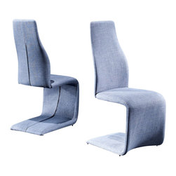 Creative Furniture - Luisa Dining Chair in Light Blue Fabric - Light, stylish, modern, trendy, fun, nice, neat, comfortable and ergonomic chair from the dining Luisa Collection. The chairs in this collection have an unusual, creative and ergonomic shape. These chairs are fully upholstered in fabric. The seat has a high density foam, for maximum comfort. The frame of the chair is made of steel. This chair has a light blue fabric upholstery. This chair will refresh your room and make it lighter.    Features: