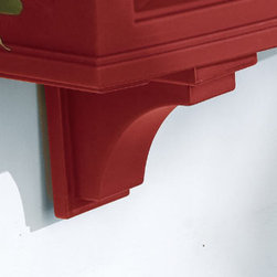 """Grandin Road - Set of Two Window Planter Corbels - Carefully crafted from double-walled polyethylene. Planter looks like wood but doesn't chip, crack, or peel. Features a built-in system to help prevent over-watering. Simply hose off the planter when it needs to be cleaned. Includes a bracket and hardware for mounting to a wall. """"Spend more time enjoying your blooms and less time watering. Devon Planters practically water themselves."""" — Grandin Road Editors A Grandin Road exclusive, our handsome Devon Window Box provides the perfect showcase for your spring blooms. This timeless window box has the classic look of wood without the maintenance worries.. . . . ."""