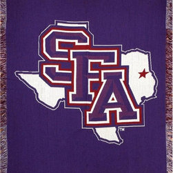 Manual - Stephen F. Austin State University 60 by 50 Inch Tapestry Throw Blanket - This 60 inch long, 50 inch wide tapestry style throw blanket is an excellent accent piece for any fan, student or alumnus of Stephen F. Austin State University. Made of 100% polyester, the blanket has 1 1/2 inch long fringe on all four sides. It features the Stephen F. Austin State SFA logo in the center. This blanket is proudly made in the USA. It looks great on chairs, couches, and beds in your home.
