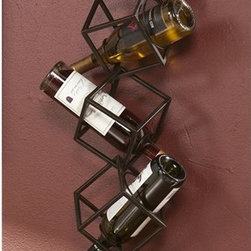 Holly & Martin - Vallejo Wall Mount Wine Storage Unit - Five abstract geometric 3-D cubes stacked on top of each other. Hangs on the wall as easily as a picture. Accommodates up to five bottles. Maximum weight capacity: 25 lbs.. Made from metal tubing. Brushed metal finish. 8.25 in. W x 8.25 in. D x 36.5 in. H (3 lbs.). Assembly InstructionsBreak out the wine collection because you're going to want to show it off with this wine organizer! This highly useful and organizational unit disguises itself as an edgy piece of wall art. Display your wine elegantly with this wall-mount wine storage unit.