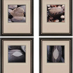 Paragon Decor - Feuilles et Galets Set of 4 Artwork - Leaves and pebbles conjoin to form an astute study of nature.