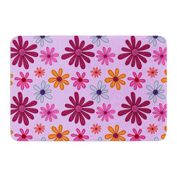 "KESS InHouse - Jane Smith ""Woodland Floral"" Purple Flowers Memory Foam Bath Mat (24"" x 36"") - These super absorbent bath mats will add comfort and style to your bathroom. These memory foam mats will feel like you are in a spa every time you step out of the shower. Available in two sizes, 17"" x 24"" and 24"" x 36"", with a .5"" thickness and non skid backing, these will fit every style of bathroom. Add comfort like never before in front of your vanity, sink, bathtub, shower or even laundry room. Machine wash cold, gentle cycle, tumble dry low or lay flat to dry. Printed on single side."