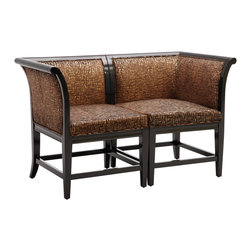 Sterling Lighting - Sterling Lighting Bailey Street Vaughn Corner Chairs - Fashion and function come together to make this classic corner chair a showstopper.  Rich iridescent zebra pattern with a glossed wood frame.  Stylish as a single and stunning as a settee.