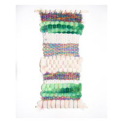 Woven Wall Hanging by Maija Elizabeth Ekey - The various textures and pops of green in this wall hanging mean that this piece can transition from the nursery to a variety of different spaces in a home.