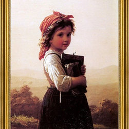 """Johann Georg Meyer Von Bremen-18""""x24"""" Framed Canvas - 18"""" x 24"""" Johann Georg Meyer Von Bremen A Little Schoolgirl framed premium canvas print reproduced to meet museum quality standards. Our museum quality canvas prints are produced using high-precision print technology for a more accurate reproduction printed on high quality canvas with fade-resistant, archival inks. Our progressive business model allows us to offer works of art to you at the best wholesale pricing, significantly less than art gallery prices, affordable to all. This artwork is hand stretched onto wooden stretcher bars, then mounted into our 3"""" wide gold finish frame with black panel by one of our expert framers. Our framed canvas print comes with hardware, ready to hang on your wall.  We present a comprehensive collection of exceptional canvas art reproductions by Johann Georg Meyer Von Bremen."""