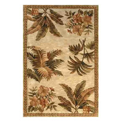 KAS - Sparta Tropical Oasis 3133 Ivory Rug by Kas - 3 ft 6 in x 5 ft 6 in - The use of floral patterns and color stylings is simply amazing in the Sparta Collection from Kas. Hand tufted of high-density wool, each rug potrays an unqiue floral arrangement that is both elegant and fashion forward. The use of different colors is simply wonderful with each peice more eye-popping than the next. If it's a floral themed rug you are in the market for, look no further than the Sparta Collection from Kas.