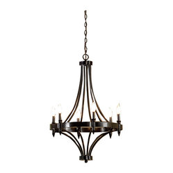 6-Light Distressed Iron Chandelier