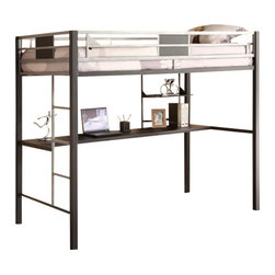 Ameriwood - DHP Silver Screen Loft Bunk with Desk in Black and Silver - Ameriwood - Bunk Beds - 5461096 - The Silver Screen Loft Bed brings a cool chic look with practical use to any bedroom. The clean and contemporary silver metal frame is durable and stable and still catches your eye with its design flairs. The desk provides an ample area for any use and is a convenient space-saving alternative for smaller rooms. The bed section is reached with an easy-to-climb ladder has full-length guardrails for security and accommodates any twin-size mattress. With it cool contemporary design the Silver Screen Twin Loft Bed by DHP is sure to be a hit in any decor.