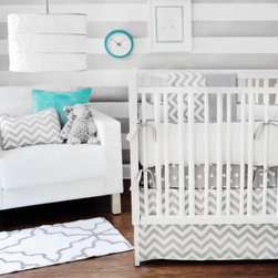 Zig Zag Crib Bedding Set - These actually remind me of my old business cards. I chose gray and white so I wouldn't tire of the colors, and I chose a variety of patterns to keep them fresh and interesting. That's exactly what this bedding set is doing!