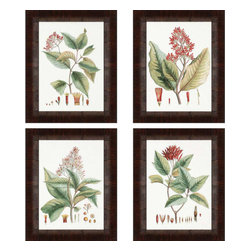 Paragon - Crimson Botanical PK/4 - Framed Art - Each product is custom made upon order so there might be small variations from the picture displayed. No two pieces are exactly alike.