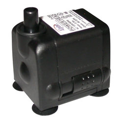 Alpine Fountains - 80 GPH Power Head T Pump - Includes on-off switch and 6 ft. power cord. Flow control. Cost saving, energy efficient operation. Ceramic impeller for long life. Reliable and quiet submersible water pump. Power consumption: 2.5 watts. Max flow: 80 gph. Max head: 18 in.. Outlet size: 0.25 in.. Warranty: One year. 2 in. L x 2 in. W x 2 in. H (0.75 lbs.)The power head pumps feature a flow control oil free magnetic design. Epoxy protected and a ceramic shaft and ceramic impellar shafts for long life. Reliable and quiet submersible water pump.