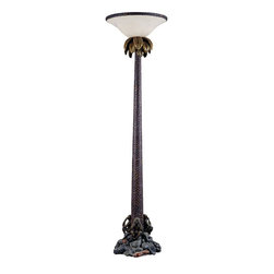 Triarch - Triarch Monkey Floor Torchiere X-99092 - Monkey touchier in a tropical bronze finish with antique gold highlights with a faux alabaster shade