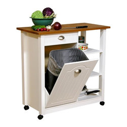 Venture Horizon - Mobile Kitchen Island Trash Bin w 3 Shelf Pan - Waste basket/ trash can not included. Handles are nickel with a nice satin finish. Solid hardwood top. Butcher block in Pine finish. Built-in cutting board. Holds standard 10 gallon trash can. Paper towel holder, hooks and towel bar. 3 Handy cubbies. Casters add mobility. Beadboard panels. Solid and thick legs. Trash can compartment cannot be modified for shelving. Constructed from durable, stain resistant and laminated wood composites that includes MDF. Made in the USA. Minimal assembly required. Weight: 75 lbs.. Assembled size: 35 in. W x 18 in. D x 35 in. HDouble wide. Double the performance. Also like the Butcher Block Bin above, our Double Butcher Bin is even more versatile and efficient. A great addition to any kitchen. Constructed from durable, easy to clean, stain resistant, laminated wood composites our cabinet incorporates a solid hardwood cutting board top that measures 36 in. wide x 18 in. deep. Carve, with confidence the largest turkey, slab of beef or rack of lamb. Slice, dice or julienne fresh fruit and vegetables...like a pro. Unique design incorporates a storage compartment for food scraps or other refuse. Holds a standard 10 gallon (41.25 qt.) size waste basket (not included). Rubbermaid Model # 2957 is a good choice. We increased this cabinets versatility by adding 3 pantry shelves and a paper towel holder in the rear. In addition there are now 3 roomy open shelves ( 151/2 in. deep x 13 in. wide) for pots, pans or whatever else you want to keep at the ready. Hidden casters behind real hardwood skirt offer smooth and easy mobility.