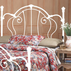 "Hillsdale - Cherie Metal Headboard - The Cherie Headboard has a sophisticated Victorian style that marries interesting scroll work with vivid castings. The Cherie Headboard is the perfect addition to any bedroom decor. Features: -2 Holes to screw in to standard headboard frame (hardware not included).-Ivory finish.-Cherie collection.-Recommended care: Dust frequently using a clean, specially treated dusting cloth that will attract and hold dust particles. Do not use liquid or abrasive cleaners as they may damage the finish.-Frame Material: Metal.-Solid Wood Construction: No.-Upholstered: No.-Distressed: No.Dimensions: -Overall Height - Top to Bottom (Size: Full/Queen, King): 60"".-Overall Width - Side to Side (Size: Full/Queen): 38"".-Overall Width - Side to Side (Size: King): 79""."