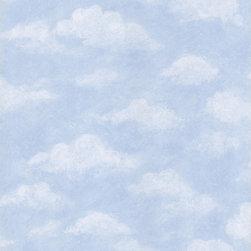"Brewster - Kids World Sidewall Wallpaper - Play a game of ""What do you see in that cloud?"" without ever leaving the house, with this charming cloud wallpaper. It'll be blue skies everyday in your child's room, when you hang this happy paper on the walls."
