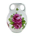 Lavish Shoestring - Consigned Globular Porcelain Flower Vase with Rose Decoration, Antique European - This is a vintage one-of-a-kind item.