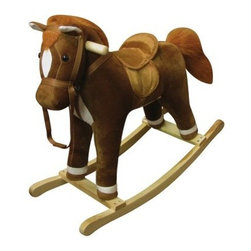 Coffee Plush Rocking Horse - The Coffee Horse rocker is the perfect playful pal for little riders. This adorable rocker features a warm coffee color with white accents and brown mane. It also offers soft fur and plush padding on the body and saddle for a comfortable ride. A soft cloth bridle and decorative metal stirrups add realism while smooth varnished handles and base provide a safe ride. Recommended for ages 3-6. Enjoy fun riding sound effects provided by two AA batteries (not included). Easy clean up with mild soap and water. Requires 2 AA batteries (not included) for sound.