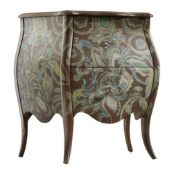 Hooker Furniture - Viera Chest - The details make all the difference in this inspired country antique chest. The curved legs and crystal knobs are enhanced by the delicate romantic pattern. And the two-drawer chest has plenty of room to stow needed items and still have room for your reading lamp.