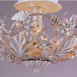 Crystorama Lighting Group - Paris Flea Antique White Semi-Flush - A sparkling bouquet of enchantment, this semi-flush promises to lend charm to your d�cor.  You will fall for its hand cut crystal petals, grand leaves, and antique white finish that combine to create a precious look.  One beautiful way to dress up your room, this piece is one to cherish.   Crystorama Lighting Group - 5305-AW