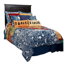 Rizzy Home - Travel and Explore Navy Full Size Kids Comforter Bed Set - Travel and Explore Comforter Set allows your child to be the world traveler they always wanted to be.  With a unique map in oranges, reds, yellows and navy blue will have you looking for the stars to keep you on your course.  Then add the coordinating sham completes the look of this very special comforter set.