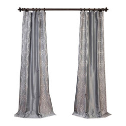 """Exclusive Fabrics & Furnishings - Chai Silver Embroidered Faux Silk Taffeta Curtain - SOLD PER PANEL . 51% Polyester 49% Nylon   Lined . 3"""" Pole Pocket with Hook Belt . Base Fabric- Silver  Pattern- Silver .Weighted Hem   Dry Clean Only ."""