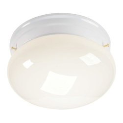 None - Transitional White 1-light Flush Sconce - This cased-opal glass fixture is an elegant one-light sconce you'll be proud to show off. Compatible with a wide range of decor, this sconce adds an essential touch of class to your washroom. Sleek and functional, you'll enjoy this piece for years.