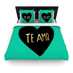 "Kess InHouse - Leah Flores ""I Love You in Espanol"" Te Amo Fleece Duvet Cover (King, 104"" x 88"") - You can curate your bedroom and turn your down comforter, UP! You're about to dream and WAKE in color with this uber stylish focal point of your bedroom with this duvet cover! Crafted at the click of your mouse, this duvet cover is not only personal and inspiring but super soft. Created out of microfiber material that is delectable, our duvets are ultra comfortable and beyond soft. Get up on the right side of the bed, or the left, this duvet cover will look good from every angle."