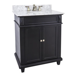 "Hardware Resources - Lyn Design VAN057-30-T-MW - This 30"" wide MDF vanity features a sleek black finish, clean lines and tapered feet to give a modern feel. A perfect alternative to a pedestal sinks. A large cabinet provides storage. This vanity has a 2CM white marble top preassembled with an H8809WH (15"" x 12"") bowl, cut for 8"" faucet spread, and corresponding 2CM x 4"" tall backsplash."