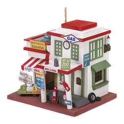 KOOLEKOO - Gas Station Birdhouse - Whimsical birdhouse recalls the bygone days when the car was king and gas stations ruled the roadside! Delightfully decorated with an array of authentic service station touches.