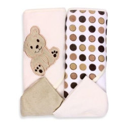 Spasilk - Spasilk Bear 2-Pack Hooded Towel and Washcloth Set in Ivory - These soft, absorbent hooded towels have an adorable bear design. They'll wrap your little one in cozy comfort at bathtime. They come with 2 matching washcloths.