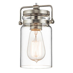 Restoration Warehouse - Restoration Warehouse Mini 1 Light Nickel Pendant - Needs 1 A19 incandescent bulb.The vintage style of this 1 light mini pendant from the Brinley collection gives a beautifully modern treatment to the familiarity and comfort of canning jars. Used in groups or stand-alone, the Brinley collection is a new touch of home in Brushed Nickel.