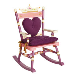 "Levels of Discovery - Royal Rocker ""Princess"" - iParenting Media Award Winner! Hand-painted in pink, purple and cream with gold accents Crown backrest with removable heart-shaped back cushion Special Message: Always a Princess Regal padded seat cushion with gold tassels We've even included the true test for all princesses - a little green pea hides under the seat cushion Special understamp beneath the seat that the customer can personalize with the child's name, the name of the gift-giver and the special occasion when the chair was received A photo greeting card is included so the child can say THANK YOU in a memorable waySeat cushion with tassels. Pea under seat cushion. Understamp beneath seat for personalization. Photo greeting card included. All chairs have a ""personalizable"" understamp"