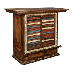Rustic Reclaimed Painted Solid Wood Bar With Wine Cabinet And Metal ...