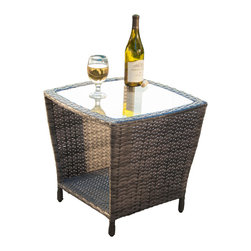 Great Deal Furniture - Easton Outdoor Wicker Accent Table - The Easton outdoor outdoor wicker accent table is stylish and convenient for your outdoor needs. You can place this table poolside or near your seating area to serve snacks and beverages on top of the glass table top. The bottom compartment can be used to hold your plants or other items.
