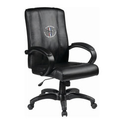 Dreamseat Inc. - Ford Mustang Tri-Bar Circle Home Office Chair - Check out this Awesome - it's one of the coolest things we've ever seen. Features a zip-in-zip-out logo panel embroidered with 70,000 stitches. Converts from a solid color to custom-logo furniture in seconds - perfect for a shared or multi-purpose room. Root for several teams? Simply swap the panels out when the seasons change. This is a true statement piece that is perfect for your Man Cave or Home Office, and it's a must-have for the person who wants to personalize their work space.