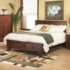 Amazon.com: Canyon Low Profile Bed in Medium Brown Size: Queen: Furniture & Deco