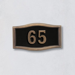 "Frontgate - Ethan Address Plaque Small - Crafted of durable cast aluminum. Available in five color options to complement any décor. Arrives ready to hang. Numbers are 3-1/2""H on both plaque sizes. Please check for accuracy; personalized orders cannot be modified, cancelled, or returned after being placed. The Ethan Address Plaque displays your home's address in bold, easy-to-read numbers and is designed to withstand all types of harsh weather.. Available in five color options to complement any decor. . . . Plaques are shipped with a template and instructions to line them up on the wall or surface where they will be mounted. In addition, each plaque is shipped with a drill bit and two stainless steel screws. The drill bit starts a pilot hole for the 2-1/2"" screws, which are then screwed about 2"" into the wall. The plaque is then put onto the screws. Additionally, clear silicon may be applied to the back of the plaque to make the installation more ""permanent"", if desired."