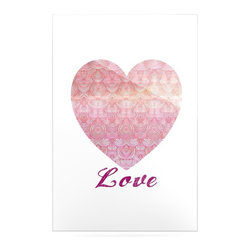 """Kess InHouse - Pom Graphic Design """"Love"""" Pink White Metal Luxe Panel (16"""" x 20"""") - Our luxe KESS InHouse art panels are the perfect addition to your super fab living room, dining room, bedroom or bathroom. Heck, we have customers that have them in their sunrooms. These items are the art equivalent to flat screens. They offer a bright splash of color in a sleek and elegant way. They are available in square and rectangle sizes. Comes with a shadow mount for an even sleeker finish. By infusing the dyes of the artwork directly onto specially coated metal panels, the artwork is extremely durable and will showcase the exceptional detail. Use them together to make large art installations or showcase them individually. Our KESS InHouse Art Panels will jump off your walls. We can't wait to see what our interior design savvy clients will come up with next."""