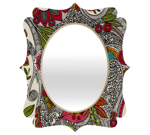 DENY Designs - Valentina Ramos Random Flowers Quatrefoil Mirror - Mirror, mirror on the wall. Who's the fairest one of all? We'll that's easy, the quatrefoil mirror collection, of course! With a sleek mix of baltic birch ply trim that's unique to each piece and a glossy aluminum frame, the rectangular mirror makes you feel oh so pretty every time you catch a glimpse. Custom made in the USA for every order.