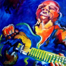 WL - Blue Jazz Guitarist Musician Playing Guitar Portrait Wall Art Painting - This gorgeous Blue Jazz Guitarist Musician Playing Guitar Portrait Wall Art Painting has the finest details and highest quality you will find anywhere! Blue Jazz Guitarist Musician Playing Guitar Portrait Wall Art Painting is truly remarkable.