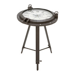 ecWorld - Urban Designs Industrial Porthole Metal Round Clock Coffee and End Table - Designed for today's most stylish living room decor, this Clock Coffee and End Table offers stunning details. Form and function meet in one to create a unique accent piece. Tripod metal stand, Roman numerals working clock inset in the tabletop is covered by tempered glass. Truly eye-catching appearance.