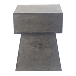 Repose Home - Mushroom Side Table - Stone and natural fibers cements make this side table simple and practical. Maintain table's honed beauty and natural intonations with any protective wax or stone floor polish. Handmade in an eco-friendly Zero emission facility. Indoor and protected outdoor use.