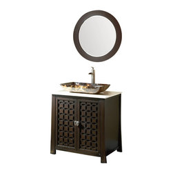 "Benton Collection - 30"" Giovanni Vessel Sink Vanity Cabinet #Hf339A - The Giovanni is a new additional to our modern/contemporary group of vanities. The clean and sleek design complements to many today's modern bathroom decors. This bathroom vanity features durable wood construction with a thick cream hand-polished genuine marble counter top. Designer rectangle glass vessel, water fall faucet set and matching mirror are all included in the stunning low price."